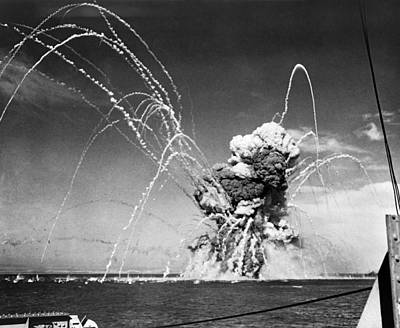 World War Ii Bomber Photograph - American Cargo Ship Explodes by Underwood Archives