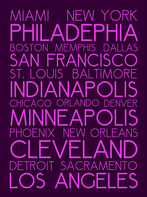 American Cities In Bus Roll Destination Map Style Poster Art Print by Celestial Images