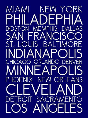 Landmarks Royalty Free Images - American Cities in Bus Roll Destination Map Style Poster - Blue Royalty-Free Image by Celestial Images