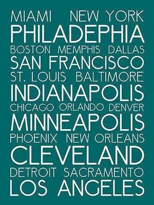 Landmarks Royalty Free Images - American Cities in Bus Roll Destination Map Style Poster - Green Royalty-Free Image by Celestial Images