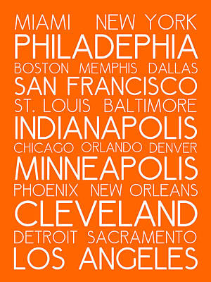Landmarks Royalty Free Images - American Cities in Bus Roll Destination Map Style Poster - Orange Royalty-Free Image by Celestial Images