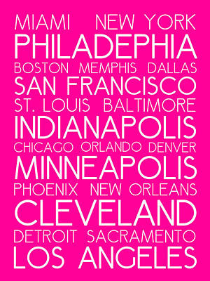 Landmarks Royalty Free Images - American Cities in Bus Roll Destination Map Style Poster - Pink Royalty-Free Image by Celestial Images