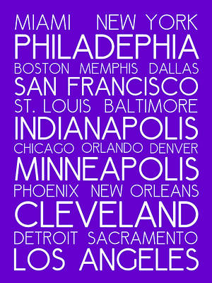 Landmarks Royalty Free Images - American Cities in Bus Roll Destination Map Style Poster - Purple Royalty-Free Image by Celestial Images