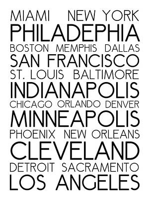 American Cities In Bus Roll Destination Map Style Poster - White Art Print