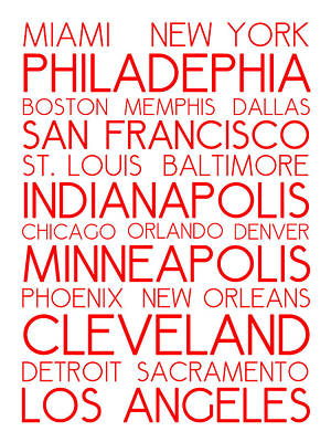 Landmarks Royalty Free Images - American Cities in Bus Roll Destination Map Style Poster - White-Red Royalty-Free Image by Celestial Images
