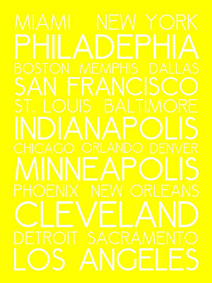 Landmarks Royalty Free Images - American Cities in Bus Roll Destination Map Style Poster - Yellow Royalty-Free Image by Celestial Images