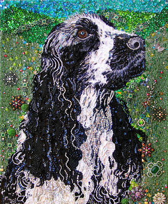 Bead Embroidery Painting - American Cocker Spaniel Bead Embroidery by Sofia Metal Queen