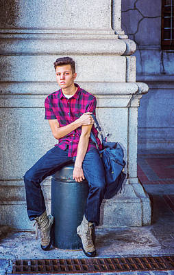 Photograph - American College Student Relaxing On Street In New York by Alexander Image