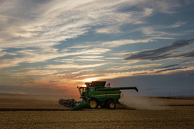 Wheat Silhouette Photograph - American Combine by Todd Klassy