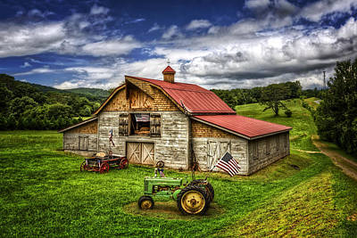 Patriotic Barn Photograph - American Country Barn by Debra and Dave Vanderlaan