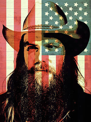 Musicians Mixed Media Rights Managed Images - American Country Singer Chris Stapleton Royalty-Free Image by Dan Sproul