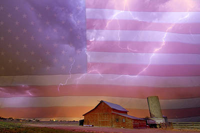 Colorado State Flag Photograph - American Country Stormy Night by James BO Insogna