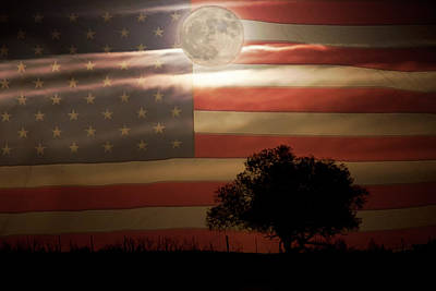 Colorado State Flag Photograph - American Country Supermoon by James BO Insogna