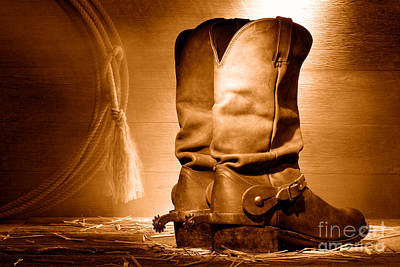 Photograph - American Cowboy Boots - Sepia by Olivier Le Queinec