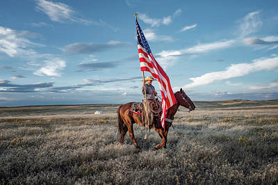 Landmarks Rights Managed Images - American Cowgirl Royalty-Free Image by Pamela Steege