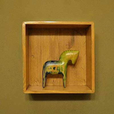 Installation Mixed Media - American Dala Horse In Blue, Green And Yellow by Adam Riggs