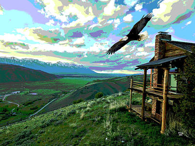 Wood Duck Mixed Media - American Eagle Jackson Hole by Charles Shoup