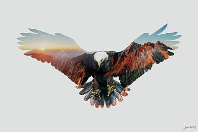 Landmarks Digital Art - American Eagle by John Beckley