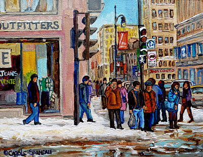City Streets Painting - American Eagle Outfitters by Carole Spandau