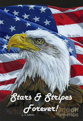 Flag Of Usa Drawing - American Eagle- Stars And Stripes Forever by Sarah Batalka