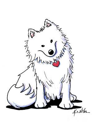 Japanese Dog Drawing - American Eski by Kim Niles