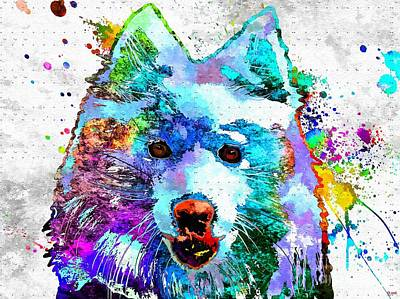 Abstract Of Dogs Mixed Media - American Eskimo Dog Grunge by Daniel Janda