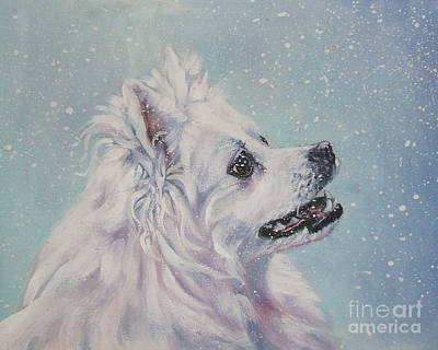Painting - American Eskimo Dog In Snow by Lee Ann Shepard