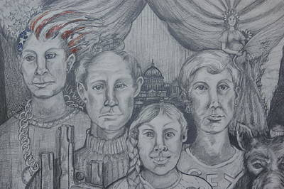 Statue Portrait Drawing - American Family? by Susan Brown    Slizys art signature name