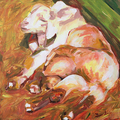 Painting - American Farm Sleepy Goats by Trina Teele