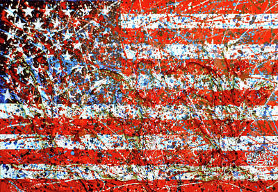American Independence Mixed Media - American Flag Abstract 2 With Trees  by Genevieve Esson