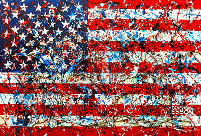 Painting - American Flag Abstract With Trees by Genevieve Esson