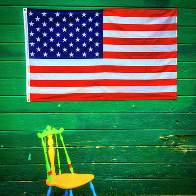 Photograph - American Flag And Colorful Chair by Garry Gay