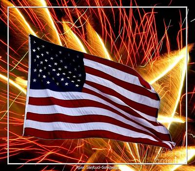 Photograph - American Flag And Fireworks by Rose Santuci-Sofranko