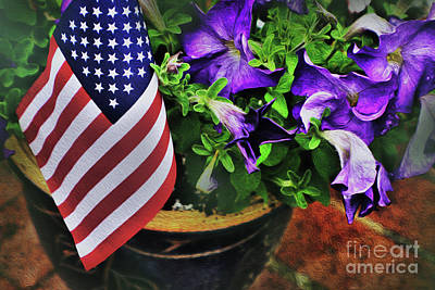 Photograph - American Flag And Petunias by Sandy Moulder