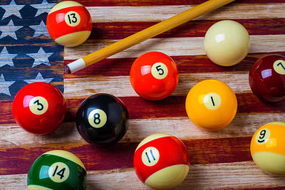 Pool Balls Photograph - American Flag And Pool Balls by Garry Gay