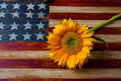 Photograph - American Flag And Sunflower by Garry Gay