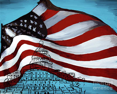 Painting - American Flag And Washington Dc by Gull G
