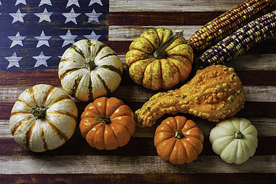American Flag Autumn Harvest Art Print by Garry Gay