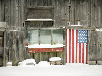 Photograph - American Flag Barn Lebanon New Hampshire by Edward Fielding