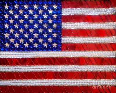 American Flag. Beadwork With Rhinestones  Original by Sofia Metal Queen