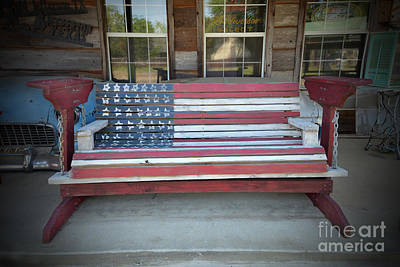 Photograph - American Flag Bench by Catherine Sherman
