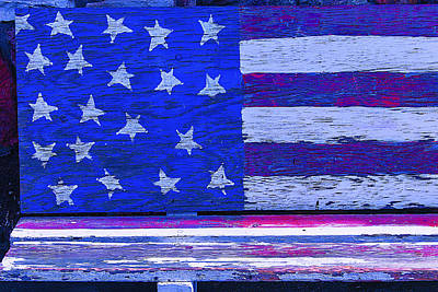 Photograph - American Flag Bench by Garry Gay