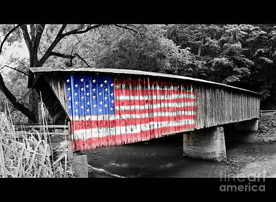Photograph - American Flag Bridge by Eric Liller