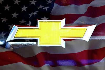 Digital Art - American Flag Chevy Bowtie by Katy Hawk