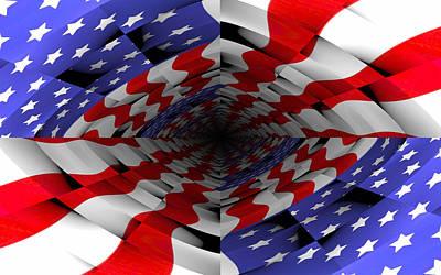 Digital Art - American Flag Deep Dive by Yury Malkov