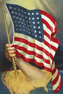 Strong America Drawing - American Flag Emerging From America by American School