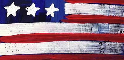 Painting - American Flag Fl-03-fc-16 by Richard Sean Manning
