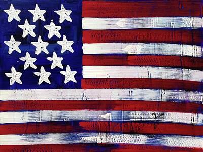 Painting - American Flag Fl-10-fc-16 by Richard Sean Manning