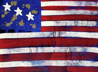 Painting - American Flag Fl-12-fc-16 by Richard Sean Manning