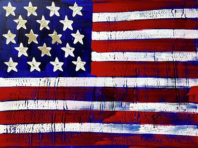 Painting - American Flag Fl-17-fc-16 by Richard Sean Manning